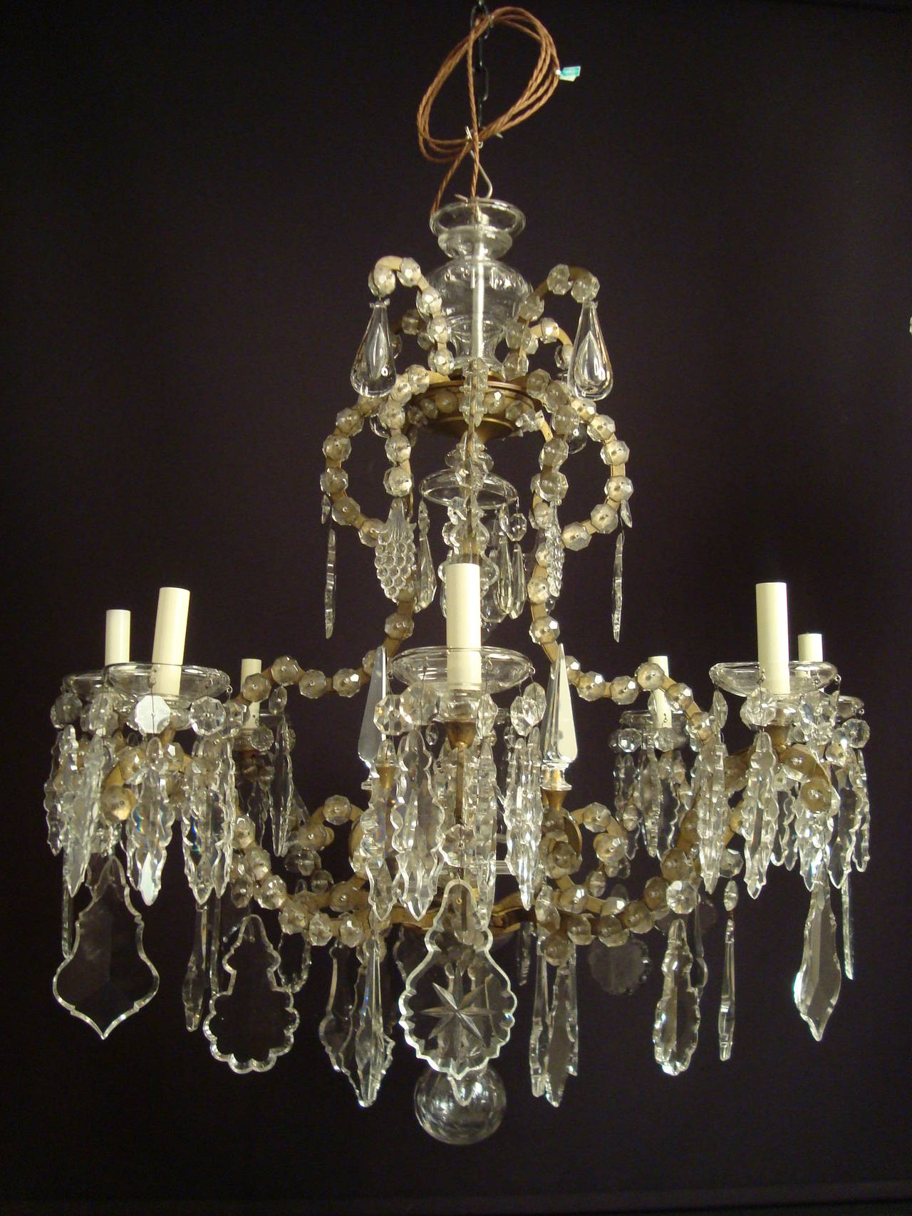 Most Unusual Wrought Iron Glass and Crystal Italian