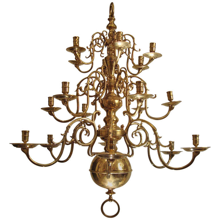 A Large Three Tiered Brass Dutch Chandelier At 1stdibs