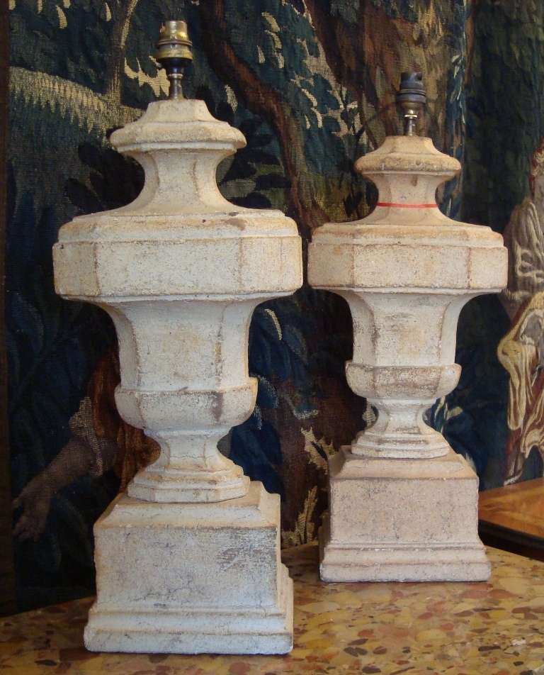 Pair of large carved stone lamps at stdibs