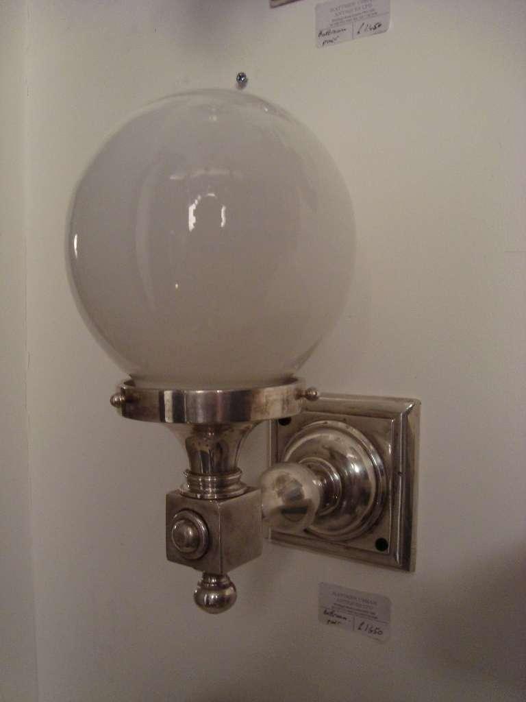Glass Globe Wall Lights : A set of three glass globe silvered bronze wall lights at 1stdibs