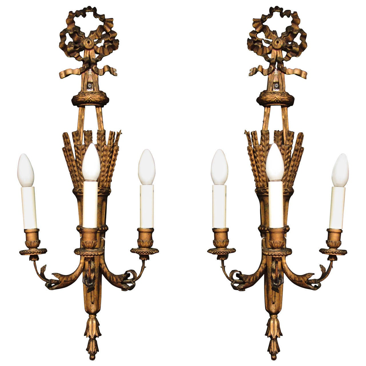 Pair of 19th Century Carved Wood Wall Appliques Sconces For Sale at 1stdibs