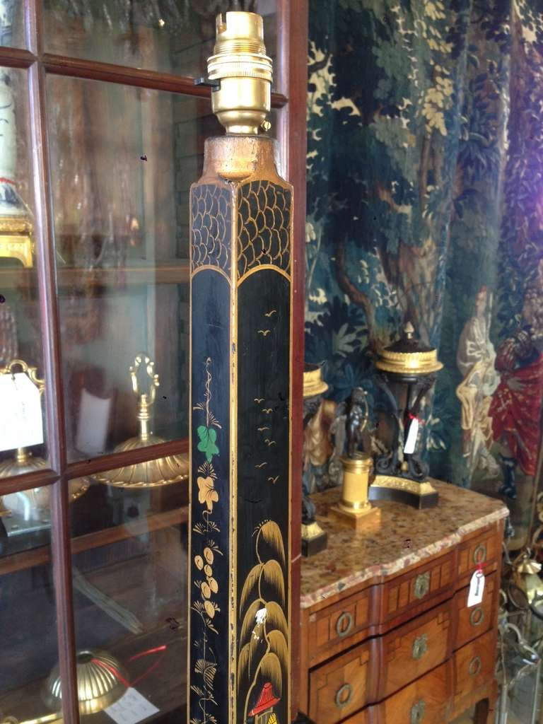 Tall Black Lacquer Polychrome And Parcel Gilt