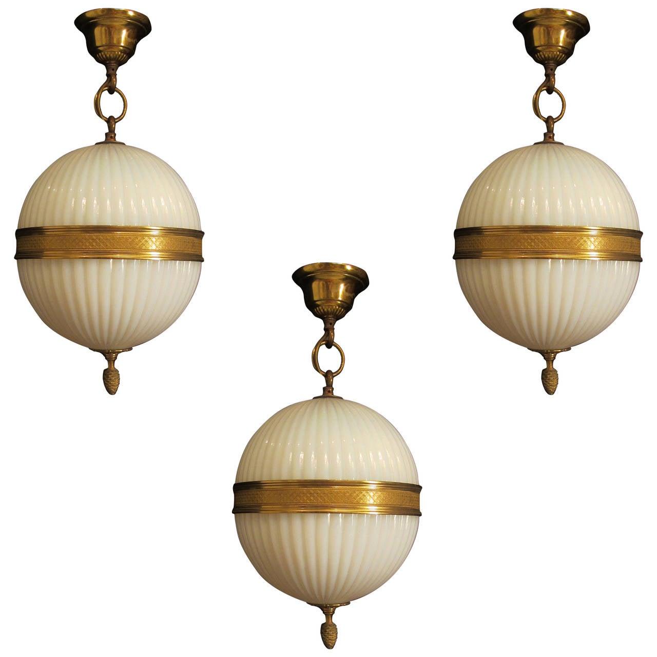 Cut Glass Globe Light and Matching Wall Lights at 1stdibs