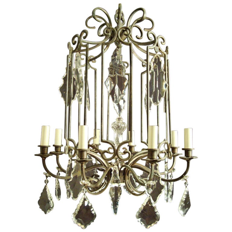 Most unusual black patinated brass and crystal rotunda shaped chandelier for sale at 1stdibs - Most popular chandeliers ...