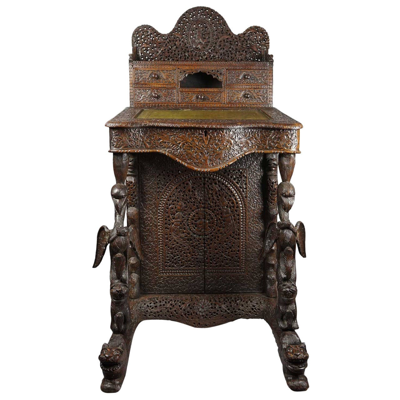 19th Century Forest Themed Carved Anglo Indian Davenport or