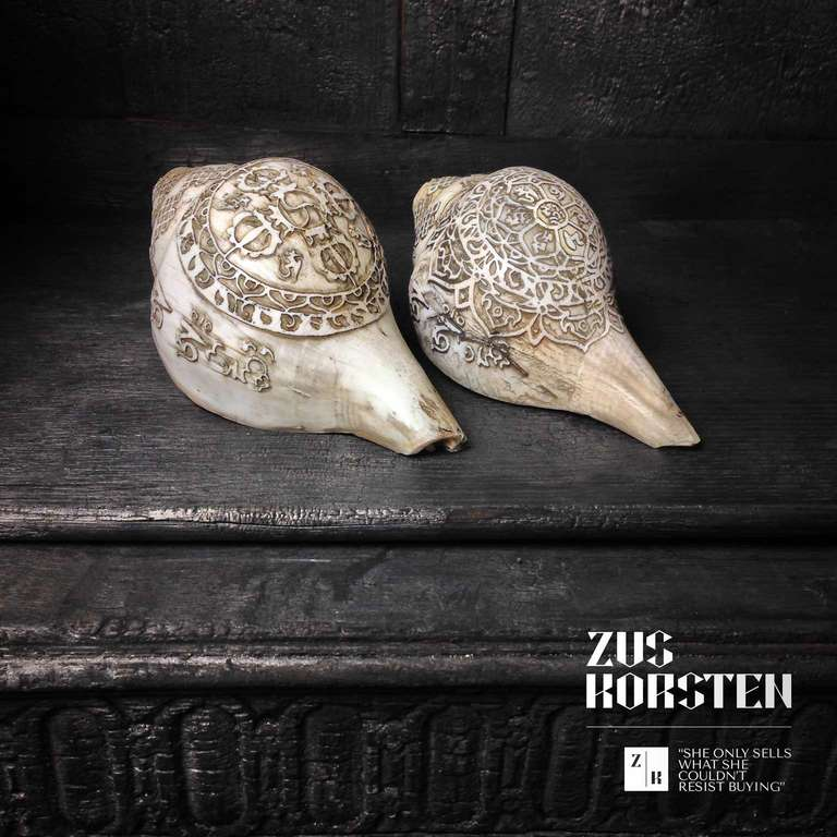 Unknown Carved Sea Shells from Tibet also known as Dung-Dkar For Sale