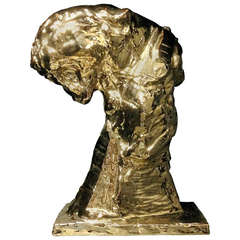 Gold Glazed Patrick Villas for Royal Boch Ceramic Panther Sculpture Big Cat III
