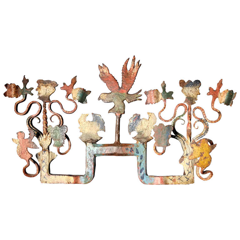 Sicilian Wrought Iron Wedding Cart Ornament For Sale