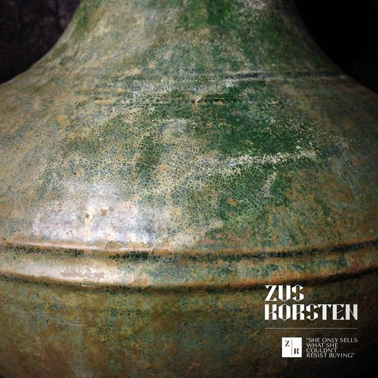 18th Century and Earlier Han Dynasty Green-Glazed Red Pottery 'Hu' Jar For Sale