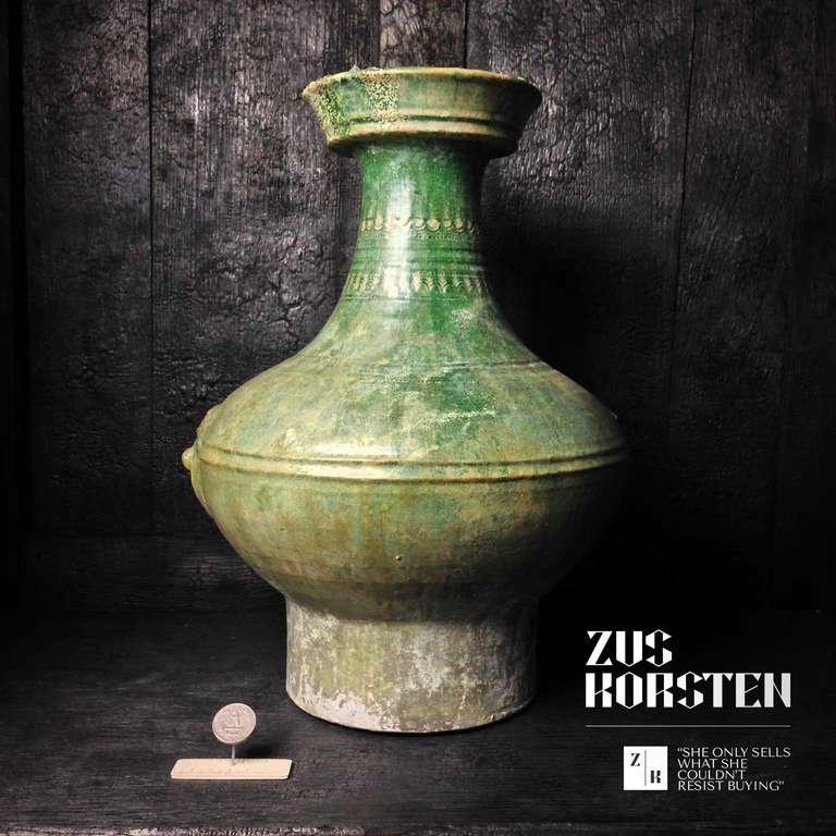 Ceramic Han Dynasty Green-Glazed Red Pottery 'Hu' Jar For Sale
