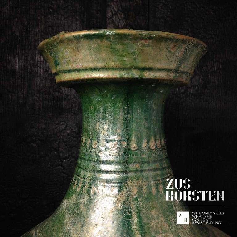 Han Dynasty Green-Glazed Red Pottery 'Hu' Jar For Sale 1