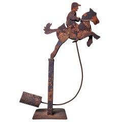 1920s American Educational Metal Pendulum Horse Toy design by Louis Petersen