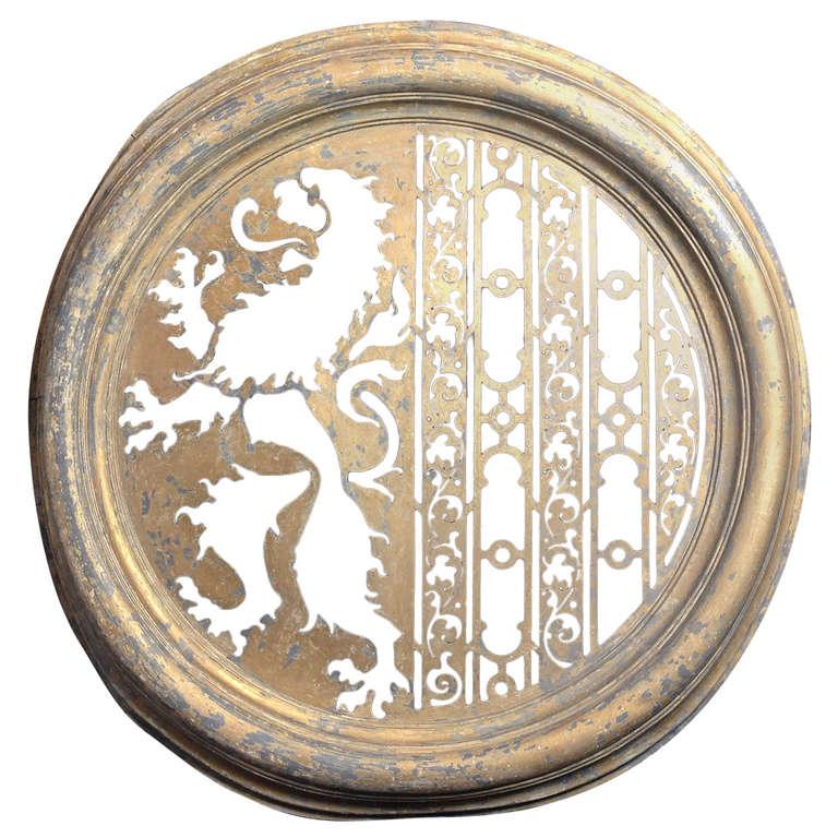Zinc Oeil de Boeuf with Lion Ornamentation For Sale