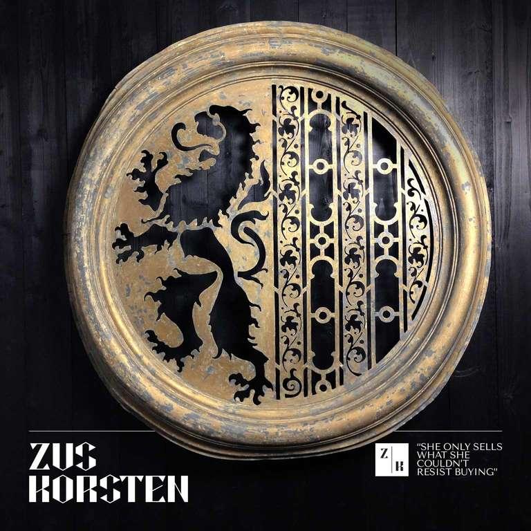 French Zinc Oeil de Boeuf with Lion Ornamentation For Sale