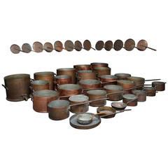 Huge 74 Pieces Set of Huge Antique Culinary Copper Pans, Etc.