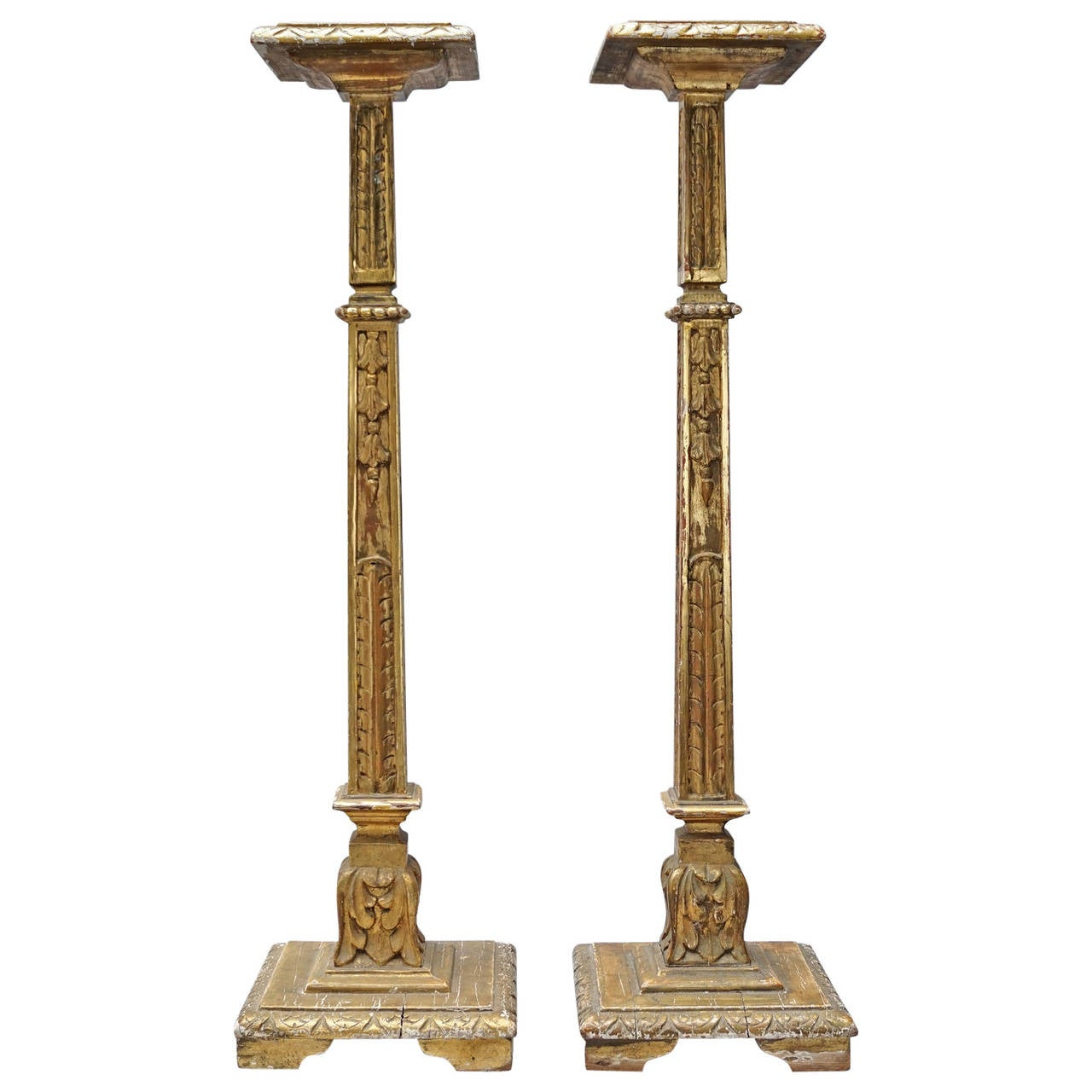 Set of Two Large 19th Century Carved and Gilded Pedestals