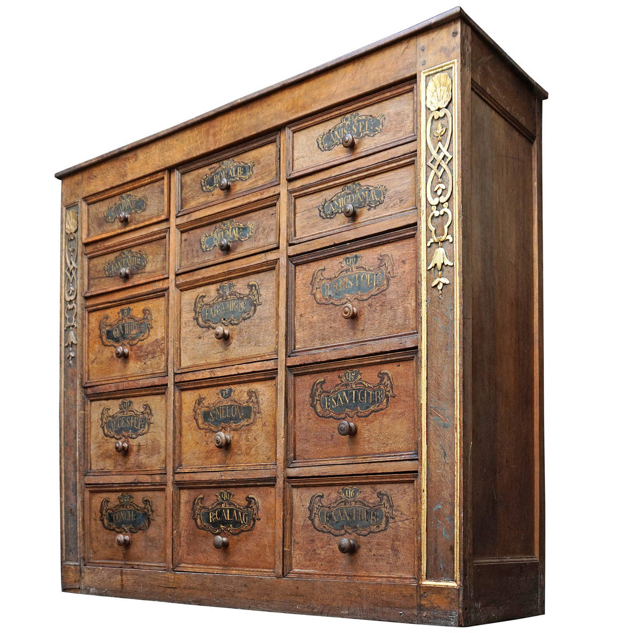 18th Century Walnut Apothecary Spices Cabinet with 24 Hand ...