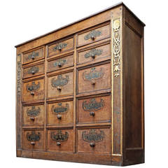 18th Century Walnut Apothecary Spices Cabinet with 24 Hand-Labelled Drawers
