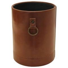 Faux Leather & Brass Paper Bin
