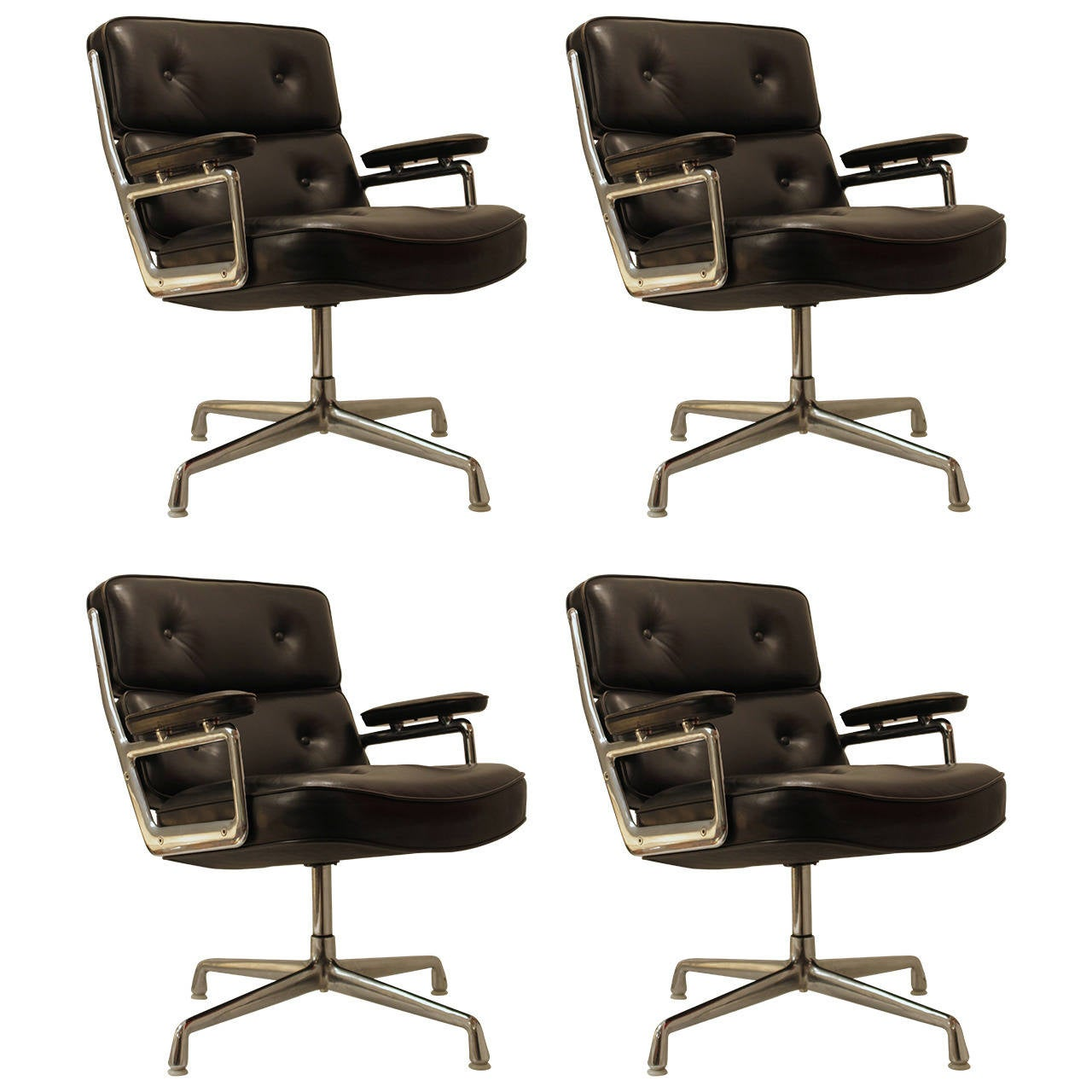 eames black leather lobby chair by vitra and miller for sale at 1stdibs. Black Bedroom Furniture Sets. Home Design Ideas