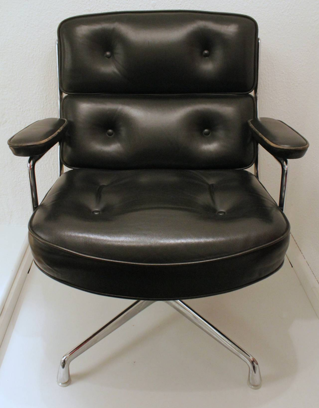 Eames Black Leather Lobby Chair by Vitra and Miller at 1stdibs