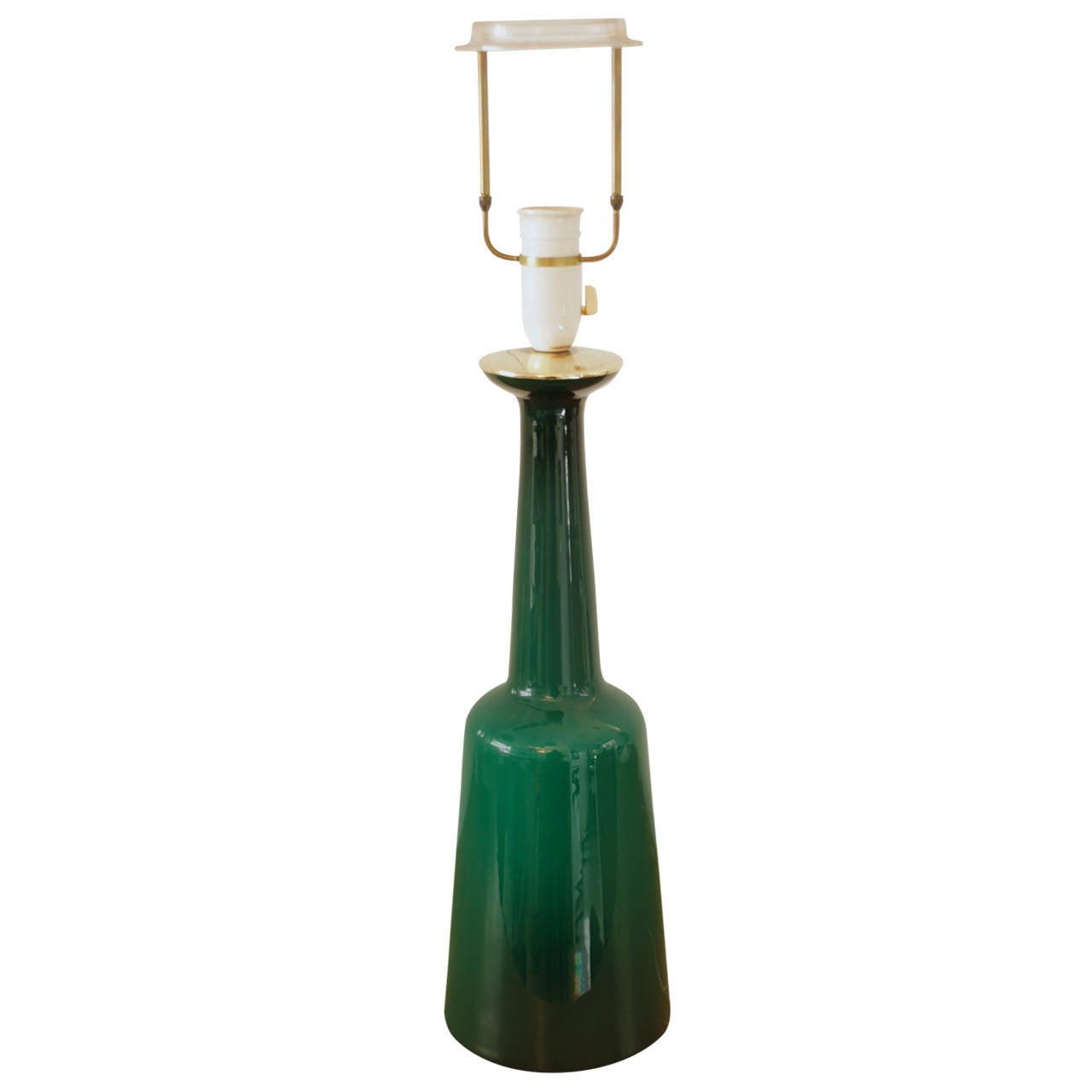 Green Glass Bottle Lamp Base By Holmegaard At 1stdibs