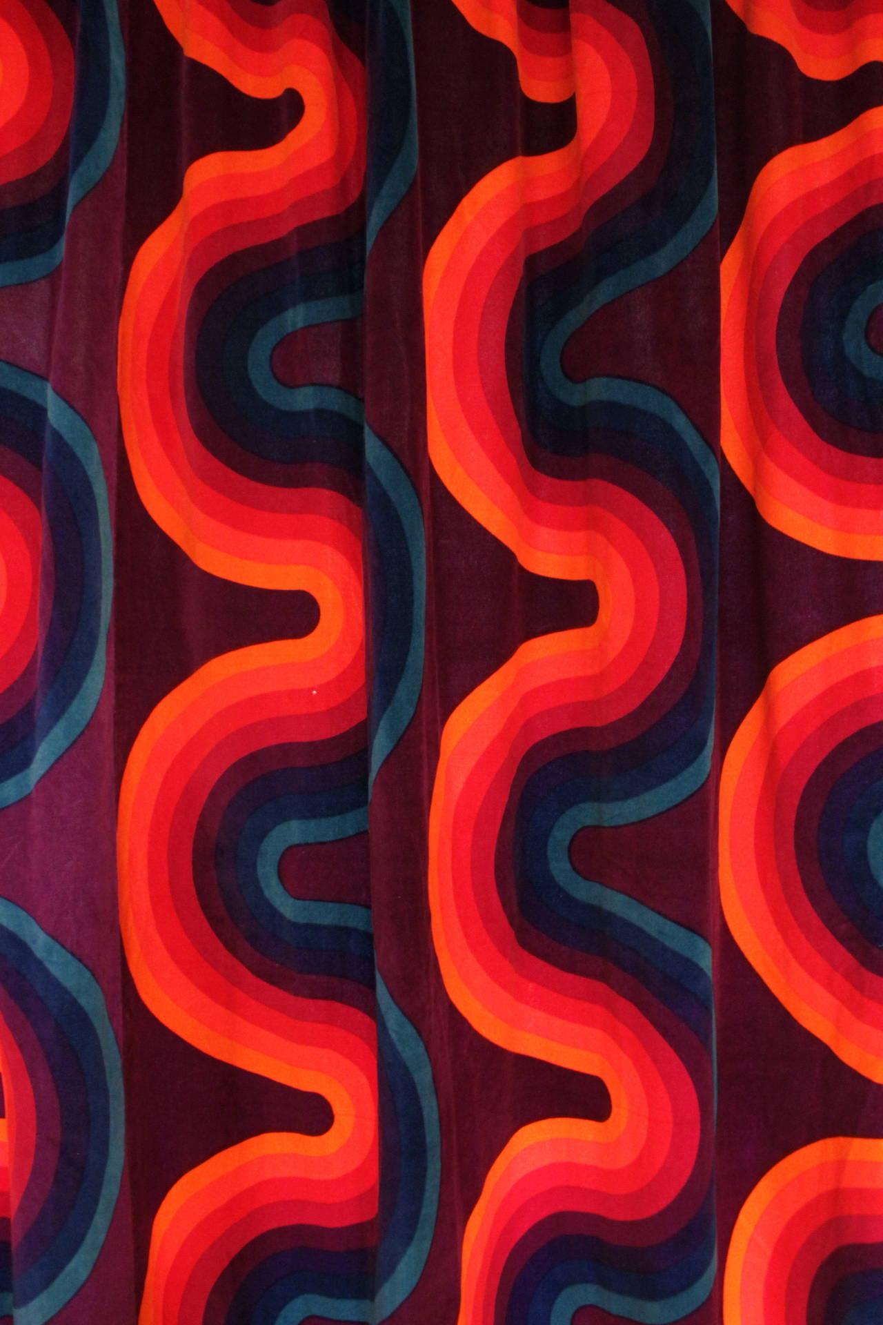 verner panton curve mira x velvet curtains at 1stdibs. Black Bedroom Furniture Sets. Home Design Ideas