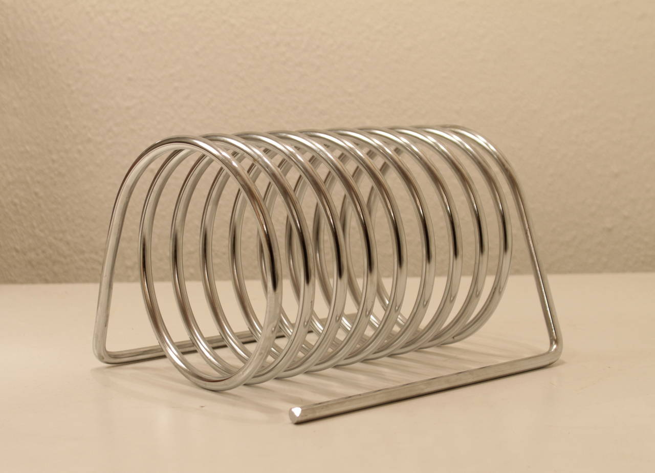 Chrome letter or magazine holder by Yonel Lebovici for Distrimex France 1969