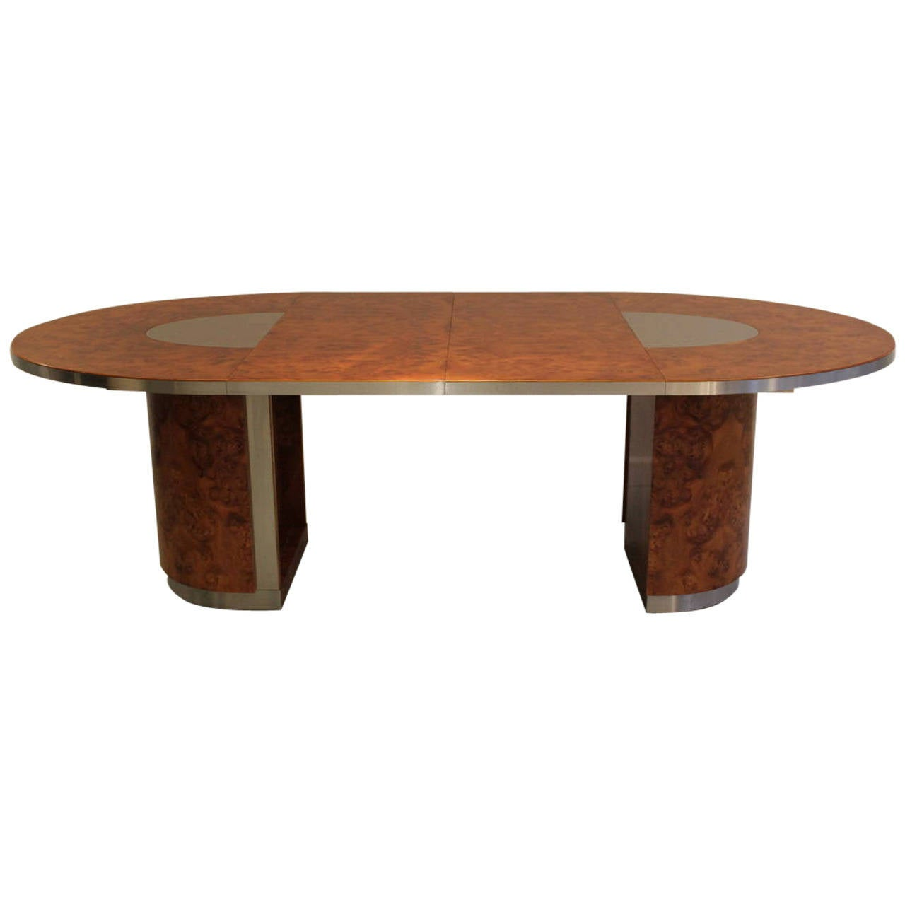1970s Burl Wood And Brushed Steel Oval Dining Table At 1stdibs