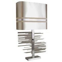 Sculptural Brushed Steel Table Lamp, 1970s