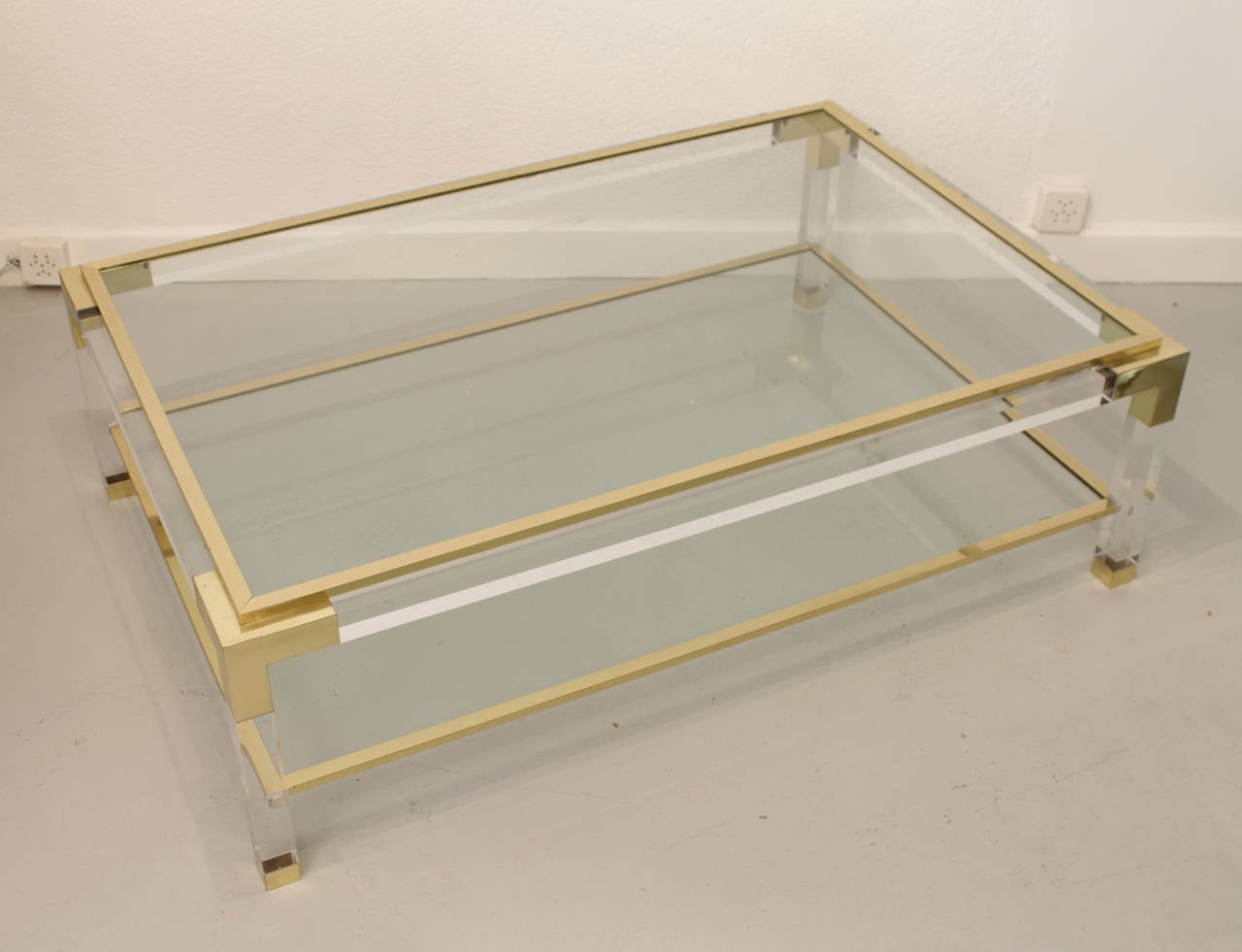 Vintage brass lucite and glass coffee table at 1stdibs Antique brass coffee table