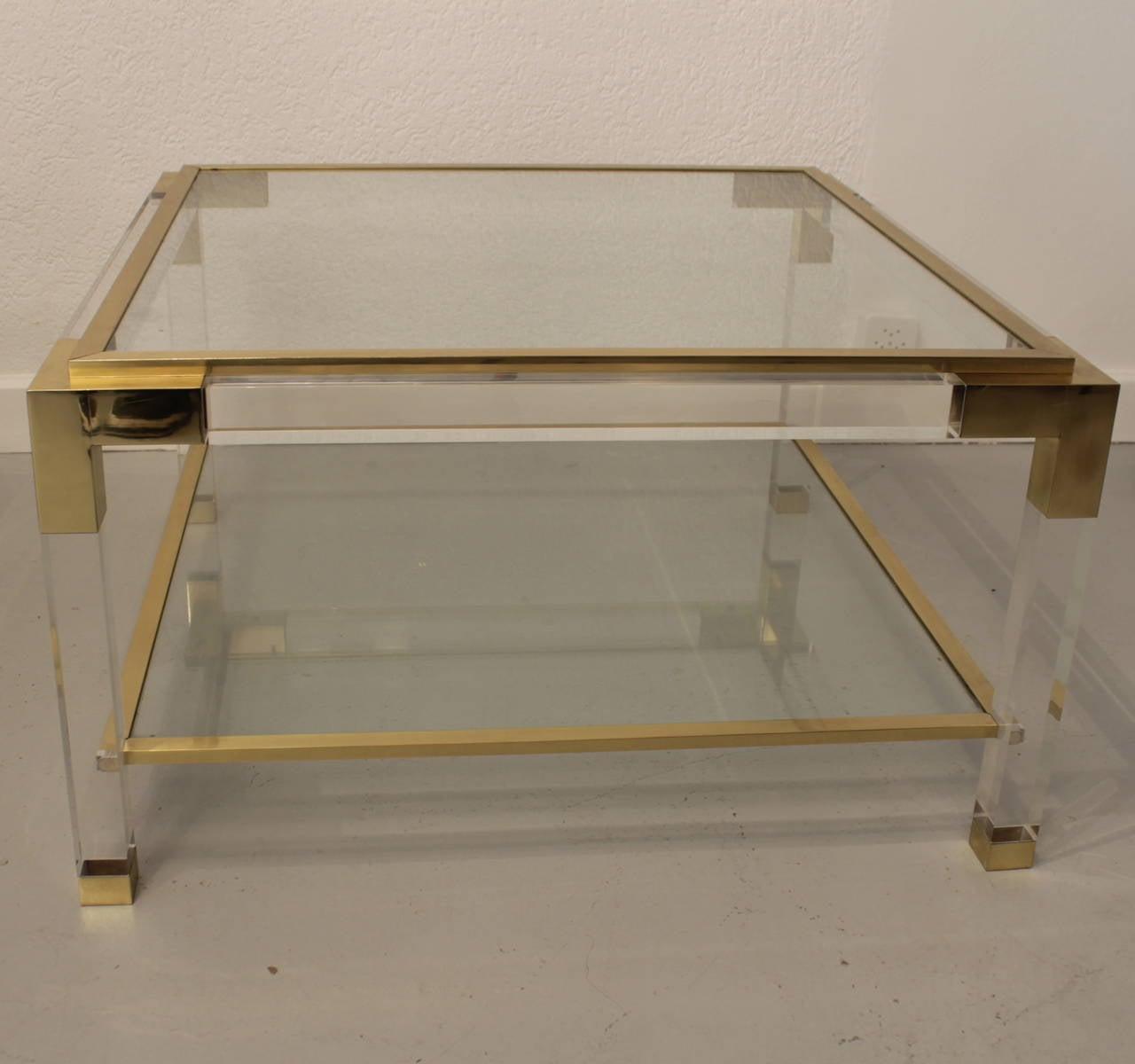 Vintage Lucite, Brass and Glass Coffee Table For Sale 1