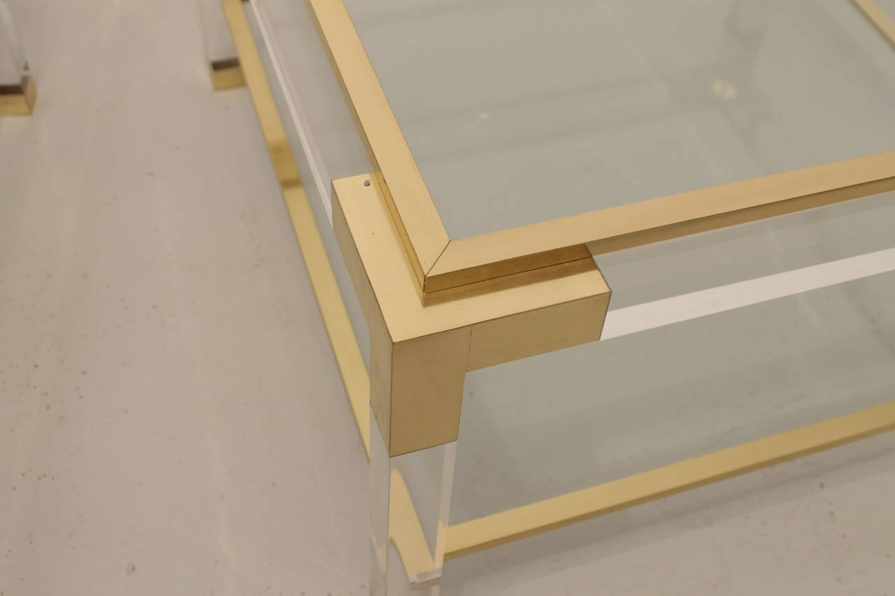 Italian Vintage Lucite, Brass and Glass Coffee Table For Sale