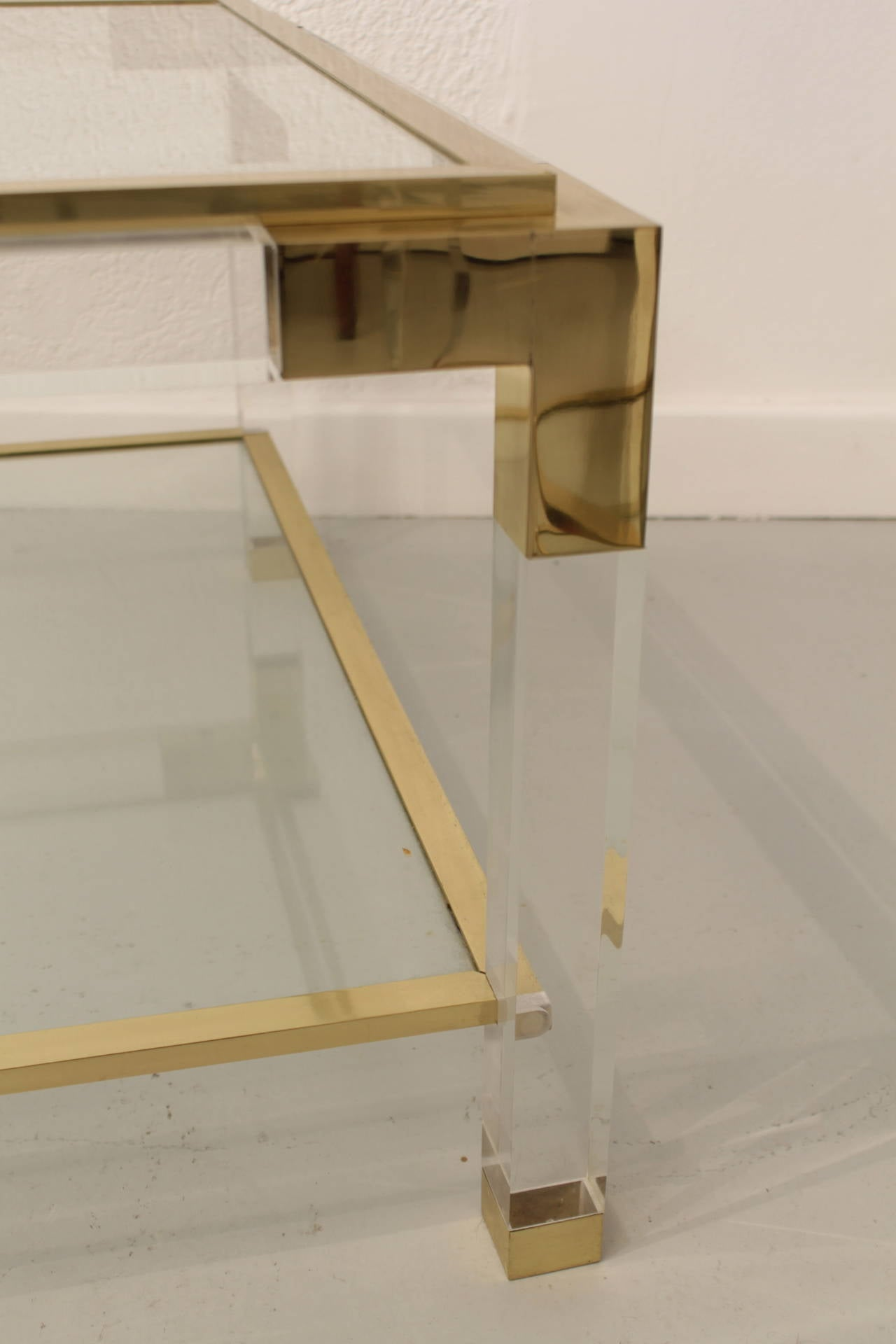 Late 20th Century Vintage Lucite, Brass and Glass Coffee Table For Sale