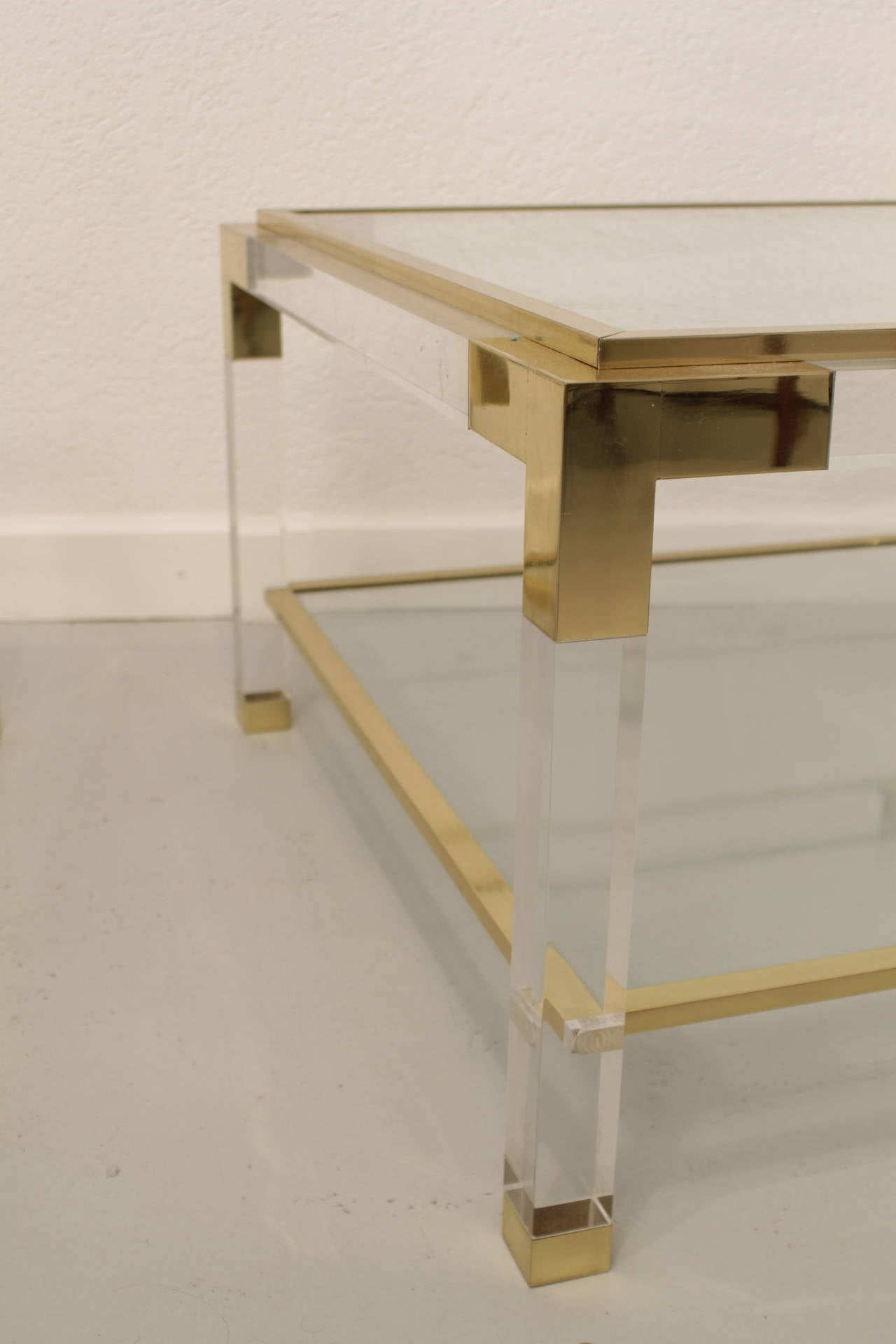 Vintage Lucite Brass And Glass Coffee Table For Sale At 1stdibs