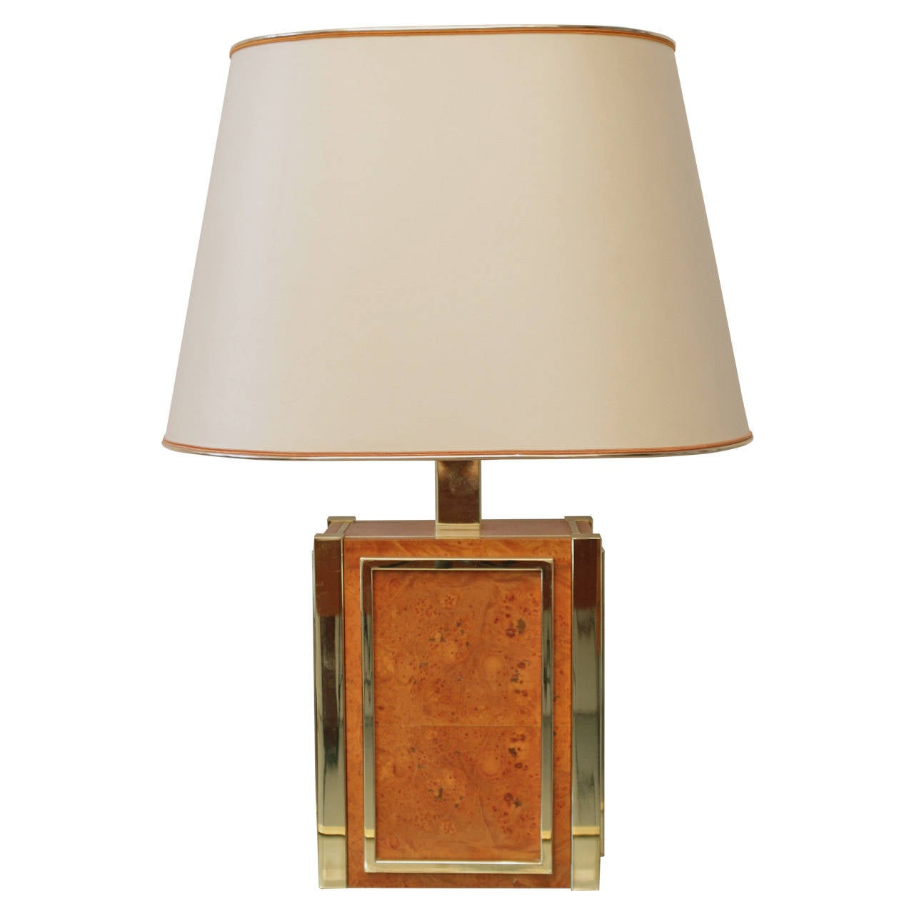 renato zevi brass and burl wood table lamp for sale at 1stdibs. Black Bedroom Furniture Sets. Home Design Ideas