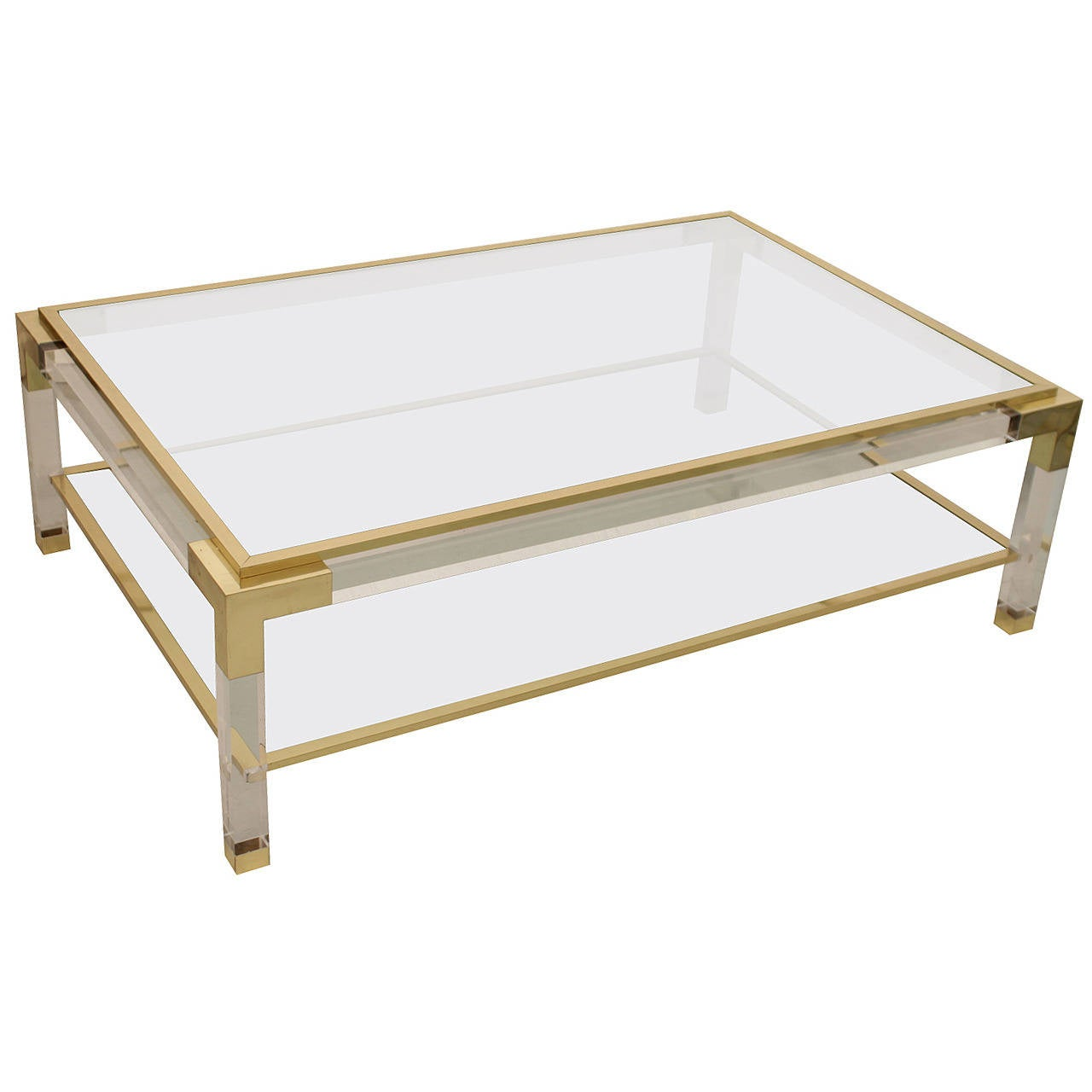 Vintage brass lucite and glass coffee table at 1stdibs for Lucite and brass coffee table