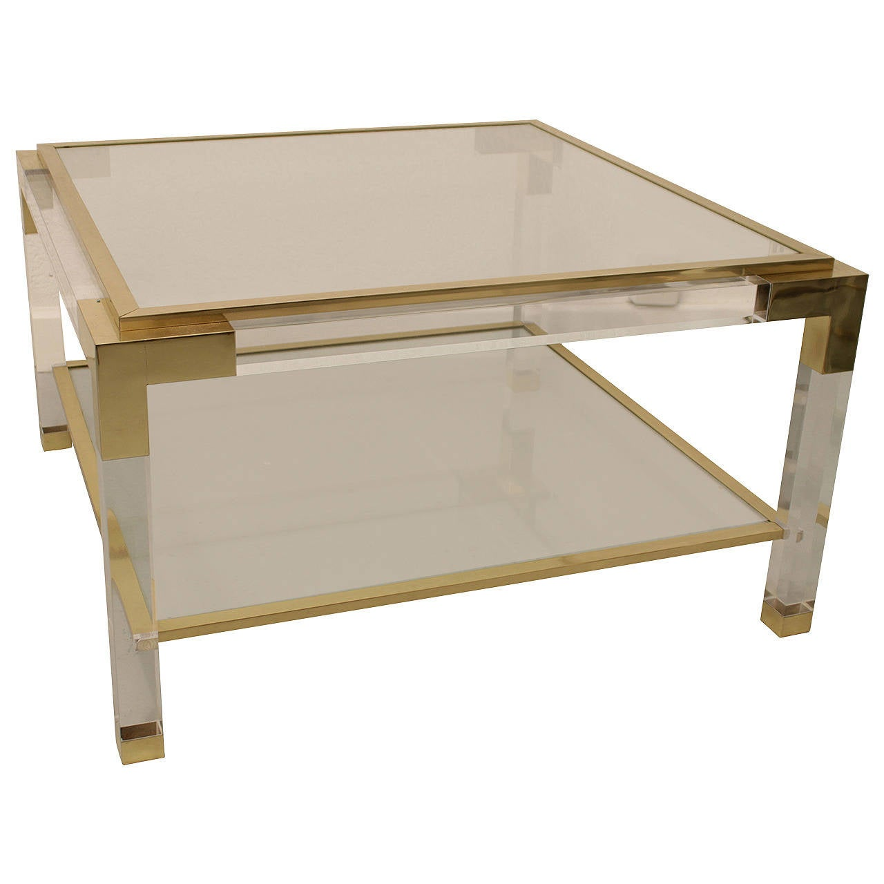 Vintage lucite brass and glass coffee table for sale at for Acrylic coffee tables for sale