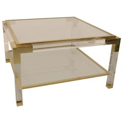 Vintage Lucite, Brass and Glass Coffee Table