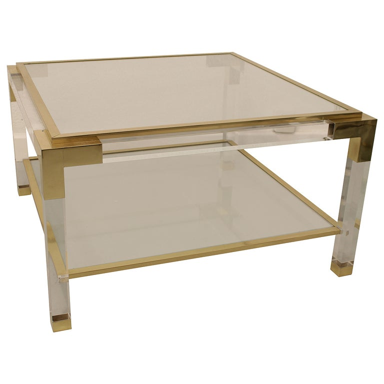 Vintage Lucite, Brass and Glass Coffee Table For Sale