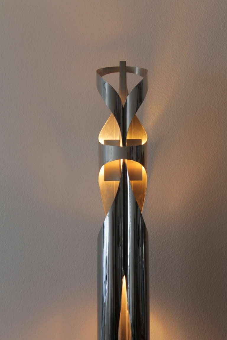 maison charles stainless steel floor lamp signed for sale at 1stdibs. Black Bedroom Furniture Sets. Home Design Ideas
