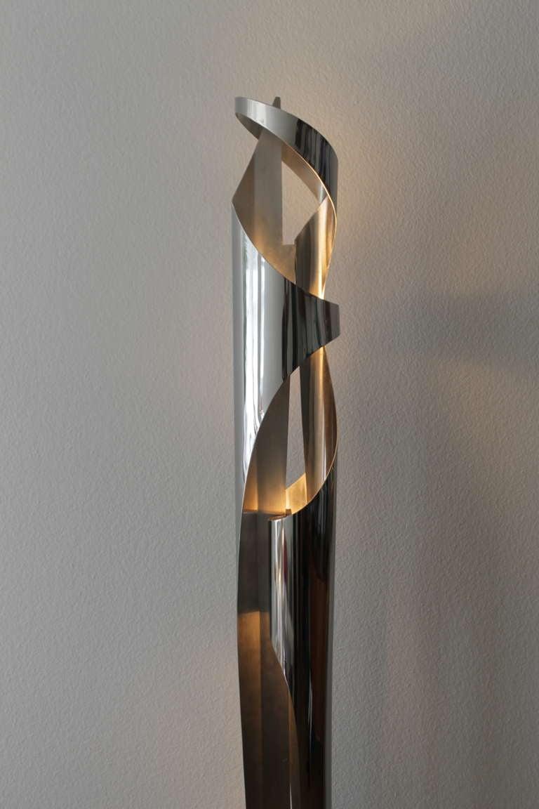maison charles stainless steel floor lamp signed at 1stdibs. Black Bedroom Furniture Sets. Home Design Ideas