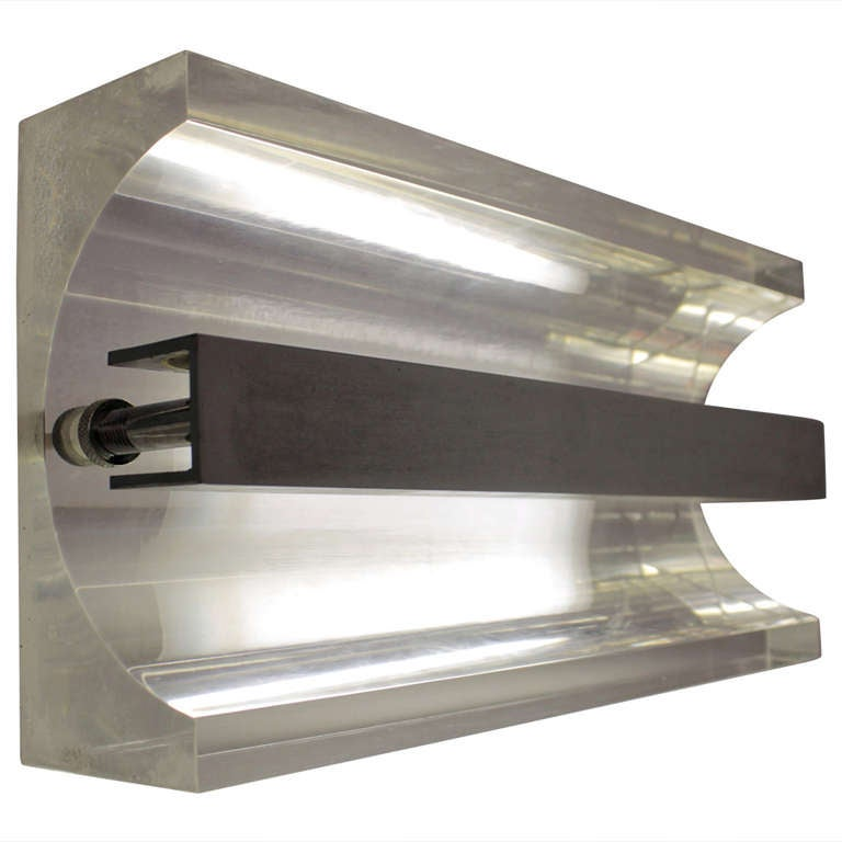 Chrome and Lucite 1970s Table Lamp