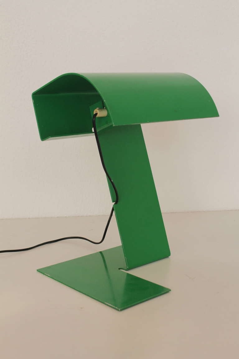 Green Metal Table Lamp Produced By Stilnovo Ca.1970 Made Of One Piece Of  Bent