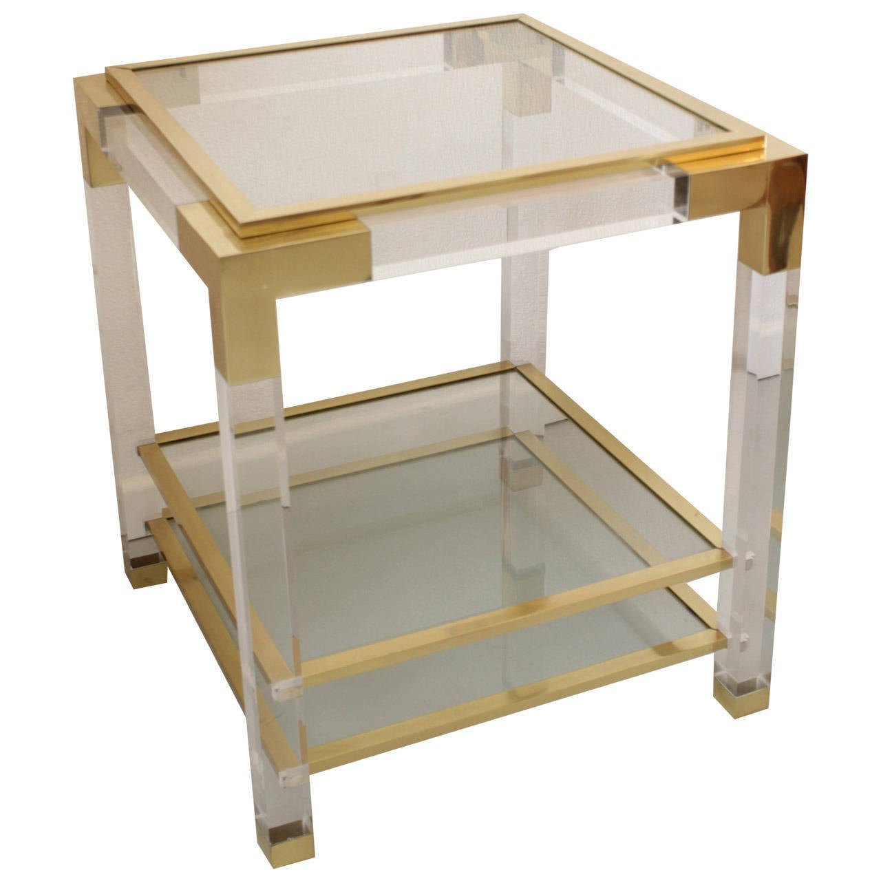 Vintage Glass Side Table ~ Vintage lucite glass and brass end table at stdibs