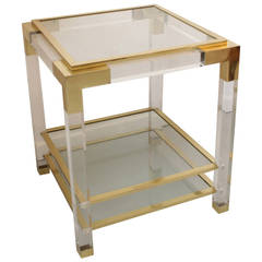 Vintage Lucite, Glass and Brass End Table
