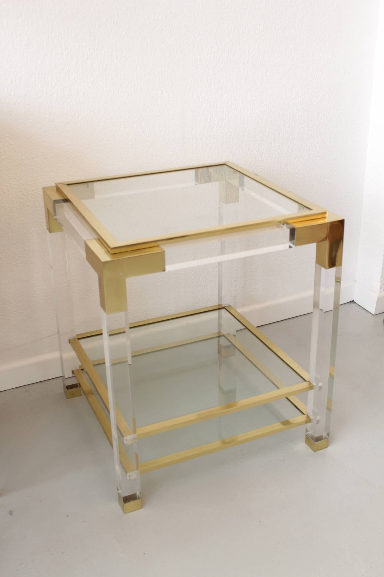 Elegant Vintage Lucite, Glass And Brass End Table 2
