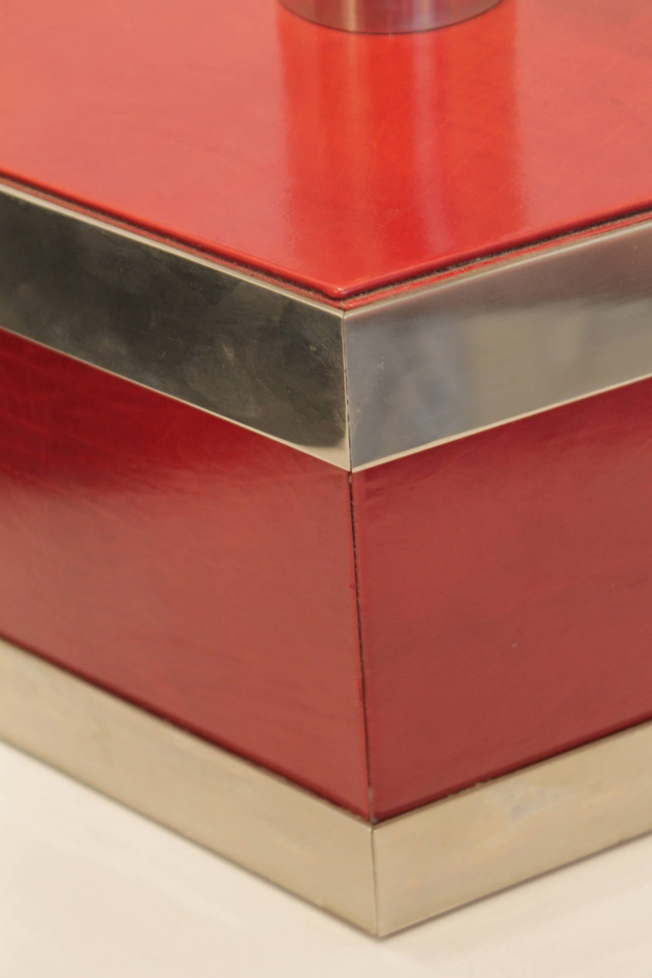 Red Bases For Living Room Decor: Italian Chrome And Red Leather Lamp Base At 1stdibs