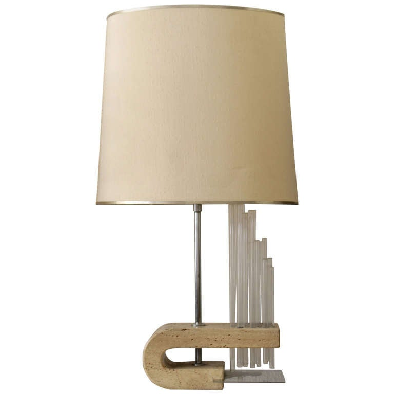 1970s Travertine, Glass and Chrome Table Lamp