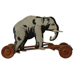 1950s Wooden Pull Toy Elephant